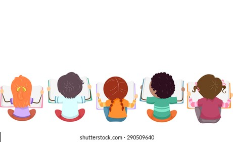 Top View Illustration of Kids Busy with Reading Books