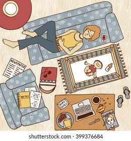 Top view illustration of a mom taking a nap on the couch with her baby sleeping next to her in the baby bed