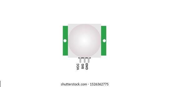 top view illustration of PIR or motion detecting sensor