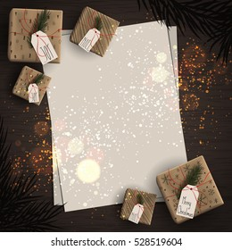 Top view of important day with gift box with christmas tree branches decoration on wood background concept. Empty and blank space with vintage style. Holiday design, decor. Vector illustration.