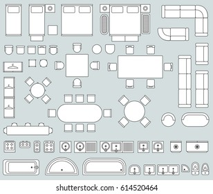 Top view interior with line furniture icons vector. Set of furniture for office or house, illustration of sofa armchair and bed furniture