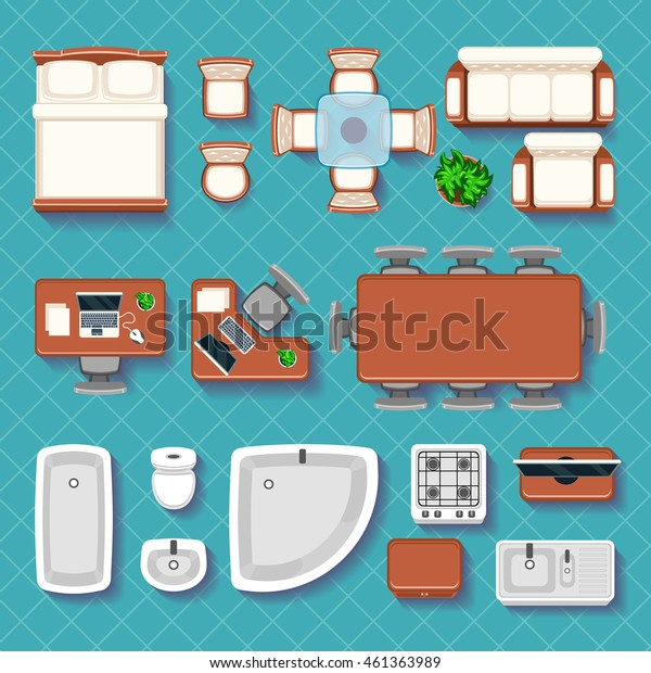 Top view interior vector flat icons. Interior furniture room. Table, chair and sofa illustration