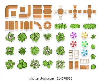 Top view landscaping architecture city park plan vector symbols, wooden benches and trees. Wooden modern sitting and table for design, illustration of creative natural structure city umbrella and tree