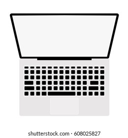 Top view laptop white background isolated vector