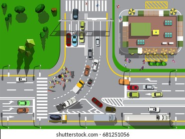 Top view large busy intersection with a traffic jam of cars and road repair
