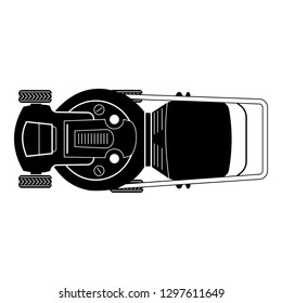 Top view lawn mower icon. Simple illustration of top view lawn mower vector icon for web design isolated on white background