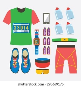 Top View Of Male's Runner Gears Vector Illustration