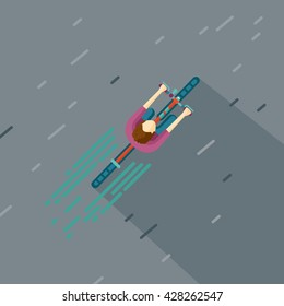 Top view of a man riding bike. Cartoon cyclist
