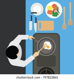 top view of  man working at kitchen table. vector illustration
