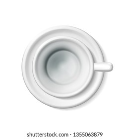 Top view mockup of a realistic blank empty white cup for coffee, tea. Tea set 3d illustration of a mug on a saucer detailed, a isolating light background. EPS10 with a shadow.