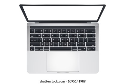 Top view of modern laptop computer with touchpad.Isolate on white background.