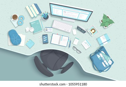 Top view of modern and stylish workplace. Table with recess, armchair, monitor, books, notebook, headphones, phone, glasses, calendar, paper, coffee, donuts, bag, cap. Vector illustration Top view