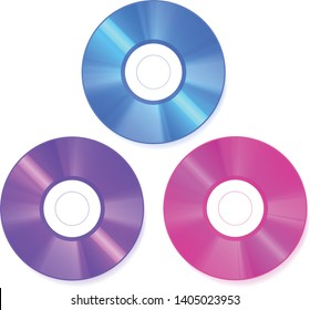 Top view Monochrome color CD disk on white, vector art