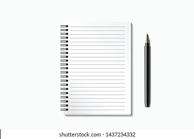 Top view office desk with pen and note book. Flat lay of minimal work space on white background. Banner with copy space. Realistic objects isolated. Vector illustration