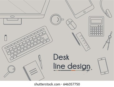 Top view of office elements on a desk. Thin line icon design. Modern vector illustration