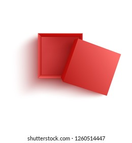 Top view on empty open red paper box in realistic 3d vector illustration isolated on white background - template or mockup of carton package for gift and surprise or storage and delivery concept.