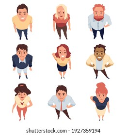 Top view on smiling standing people looking up. A set of young characters with expression cheerful. Flat cartoon vector illustration isolated on a white background.