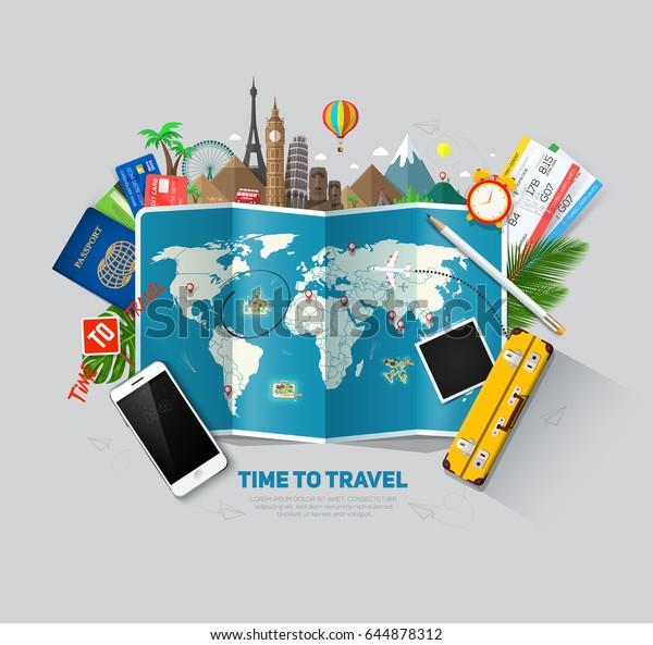 Вид сверху на шаблон концепции путешествий и туризма, готовый к дизайну летних баннеров. Векторная иллюстрация