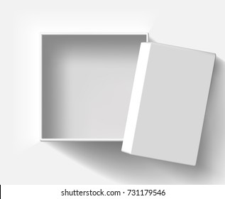 top view open blank gift box isolate on white