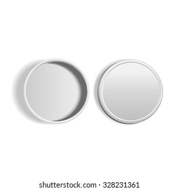 top view of open round metal box isolated on white background