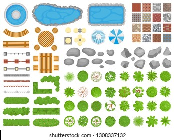 Top view park items. Garden walkway, outdoor relaxing parks furniture and gardens trees aerial. Pool, table and chair or garden relax architectural isolated vector illustration icons set