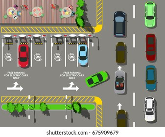 Top view parking for electric cars near fast food cafe