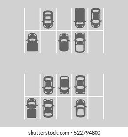 Top View Of Parking Lot. Vector