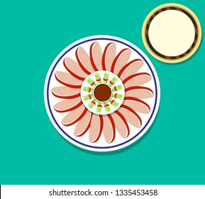 Top view Peking Duck and pancakes, vector art