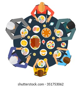 Top view of  people having dinner together at the table, vector illustration