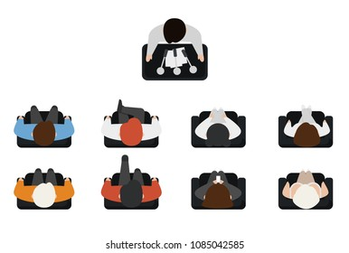 Top view of people set isolated on white background. Men and women sitting armchairs. View from above. Male and female characters. Presentation. Simple cartoon design. Flat style vector illustration.