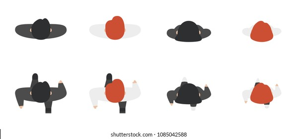 Top view of people set isolated on a white background. Men and women. View from above. Male and female characters. Simple cartoon design. Flat style vector illustration.