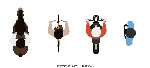 Top view of people set isolated on a white background. Men riding a horse, a motorcycle, a bicycle, a skate. View from above. Male characters. Simple cartoon design. Flat style vector illustration.