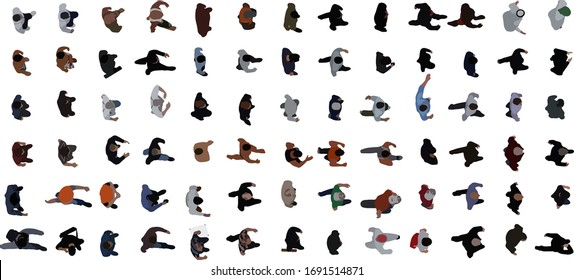 Top view of people set isolated on a white background. View from above. Male characters. Simple flat cartoon design. Realistic vector illustration.