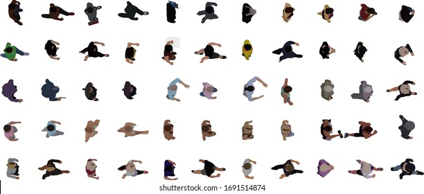 Top view of people set isolated on a white background. View from above. female characters. Simple flat cartoon design. Realistic vector illustration.
