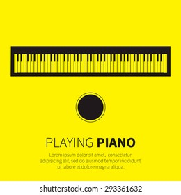 Top view Piano and chair. Music instrument. Vector illustration