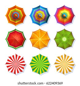 Top view picture of summer beach umbrella for relaxation. Colorful vector set isolate on white. Collection of color umbrella for protection from sun, illustration of umbrella with stripe pattern