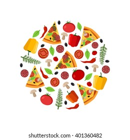 Top View pizza ingredients in the circle composition and sliced pizza, flat style illustration