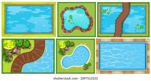 A Top View of Pond illustration