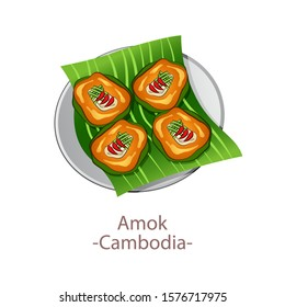 top view of popular food of ASEAN national,Amok,in cartoon vector design