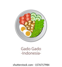 top view of popular food of ASEAN national,Gado Gado,in cartoon vector design
