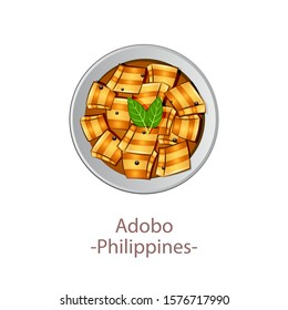 top view of popular food of ASEAN national,Adobo,in cartoon vector design