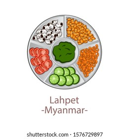 top view of popular food of ASEAN national,Laphet,in cartoon vector design