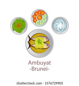 top view of popular food of ASEAN national,Ambuyat,in cartoon vector design