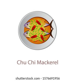 top view of popular food of Thailand,Chu Chi Mackerrel,in cartoon vector design