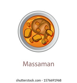 top view of popular food of Thailand,Massaman Curry,in cartoon vector design