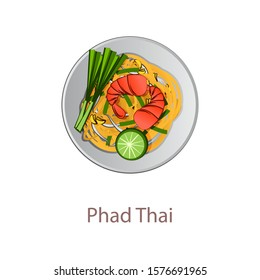 top view of popular food of Thailand,Pad Thai,in cartoon vector design
