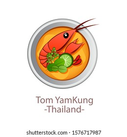 top view of popular food of Thailand,Tom Yum Kung,in cartoon vector design