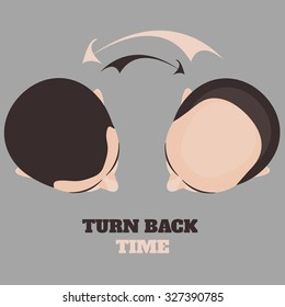 Top view portrait of a man before and after hair treatment and transplantation. Male baldness pattern cycle. Turn back time concept. Isolated vector illustration.