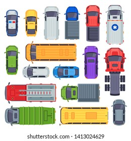 Top view public transport. Taxi car, city buses and ambulance vehicle. Delivery truck, school bus and fire engine vector set