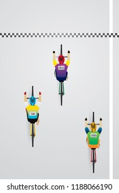 Top view of racing bicycle. Vector illustration